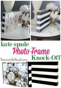 I almost put this photo frame on my wish list, but then I realized I could do an easy Kate Spade Knock-Off of it. It only took about 15 minutes and cost $5.