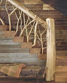 logs and branches for staircase design
