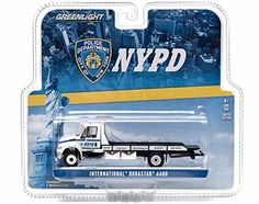 2013 International Durastar 4400 NYPD Flatbed Tow Truck 1/64 by Greenlight