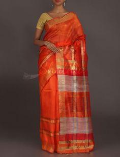 Kalpana The Wonder Of Lines Bright Orange #MatkaSilkSaree