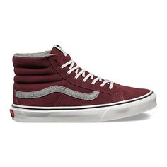 Vintage Suede SK8-Hi Slim ($70) ❤ liked on Polyvore featuring shoes, sneakers, red mahogany, vintage sneakers, red suede sneakers, red high tops, red hi top sneakers and vans high tops