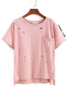 Cheap T-Shirts, Buy Directly from China Suppliers:Dotfashion Vogue Ripped High-Low Pocket Tops Summer Style Casual Tees Loose New Arrival 2016 Ladies Short Sleeve T-shirt T Shirt Top, T Shirt And Shorts, Shirt Blouses, Tee Shirts, Pink Shirts, Pink Tees, Destroyed T Shirt, Ripped Shirts, Mode Grunge