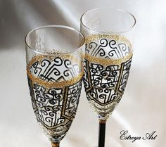 Hand painted glass art deco style Gatsby wedding 1920s gold