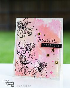 Hey all, Jung here! Today, I have a pink scrapbook layout and a pink card to share with you. Watercolor Cards, Watercolor Flowers, Watercolor Background, Watercolour, Art Flowers, Altenew Cards, Pink Cards, Some Cards, Flower Backgrounds