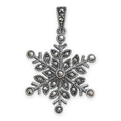 Marcasite and Sterling Silver Snowflake Pendant #ring #bracelet