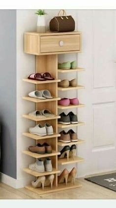 Whichever shoe storage ideas you choose in consider not only their functionality, but also their home decor wow factor.f you love the industrial décor look, this is a great DIY shoe rack to…Daha fazlası Diy Shoe Rack, Wood Shoe Rack, Shoe Shelf Diy, Shoe Rack Closet, Wood Shoe Storage, Room Closet, Shoe Storage For Front Door, Shoe Racks For Closets, Storage For Shoes