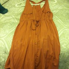 Button up dress Button up tank dress with pocket and waist tie work once size small Dresses
