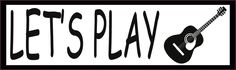 10in x 3in Lets Play Guitar Music Bumper Sticker Vinyl Window Decal