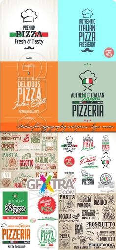 Italian food typography and pizza logos vector