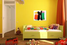 Bright yellow kids bedroom. Art by Harold Town. (Toy Horse Series)