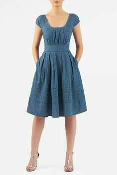 Pretty pleats detail the scooped neck of our dot print denim chambray dress inversely pleated and nipped in at the high banded waist for a figuring-flattering silhouette and finished with tucked pleats at the hem. Simple Dresses, Casual Dresses, Fashion Dresses, Summer Dresses, Look Fashion, Womens Fashion, Latest Fashion, Chambray Dress, African Dress