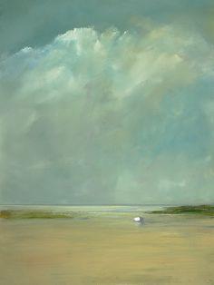 anne packard 16 Cette grande étendue de ciel, et la plage vide, avec seulement cette barque au loin, et puis ces couleurs douces, c'est très reposant. Je verrais bien ça dans une chambre.