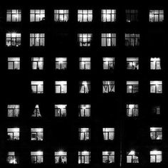 This image shows rhythm, through the use of the lights in some windows being off, and others on. The repetition gives us a sense of balance, even if it is not symmetrical.  There is contrast used in the image and also positive and negative space is used quite well to make the windows stand out.