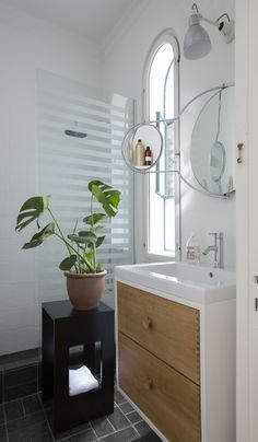 SkabRum, Bathroom furniture in oak. #bathroom #customerpictures #danishdesign #design #smokedoak #wood