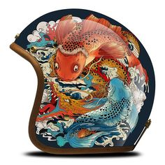 TM Airbrush 3/4 Open Face Motorcycle Helmet DOT - Two Carpio