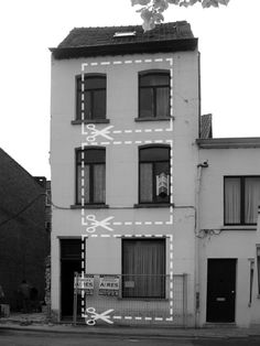 Residential Architecture: KCV House by Graux & Baeyens Architecten: '..slotted onto a slim site, the pre-existing 18th century house initially exhibited a series of small windowsthat generated a cramped expression to the street facade. by stacking large square-shaped windows whichstretch the whole height of each storey, the elevation gains a fresh identity while projecting the interiorbeyond the building towards the old city skyline. re-finished with a white plaster f...