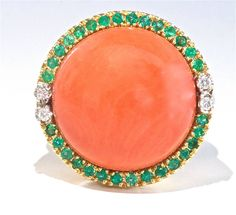 Large Coral Emerald Diamond Gold Ring | From a unique collection of vintage cocktail rings at https://www.1stdibs.com/jewelry/rings/cocktail-rings/