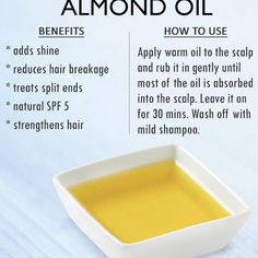 Olive oil hair care - It helps to soften then hair and can also be used as a dee. Olive oil hair c Olive Oil Hair, Hair Oil, Pelo Natural, Belleza Natural, Natural Skin, Natural Health, Olive Oil Benefits, Almond Oil Benefits Hair, Almond Oil Hair