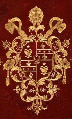 Reliure de maroquin rouge, décor estampé à l'or, aux armes de la famille Braschi (sur le tout) à laquelle appartenait le pape Pie VI. -- «Vite di Santi Padri», par Domenico Cavalca, enluminé par le Maître de Ippolita Sforza, 1450-1475 [BNF Ms italien 1712].