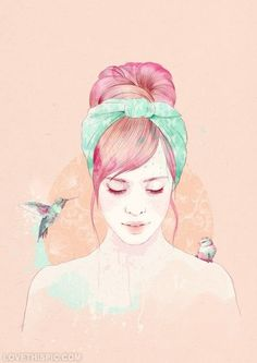 The girl and her birds girl pink birds art painting pastel portrait