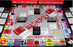 """This game board is a clever take on the classic board game Monopoly, but with math in every action.  Roll the dice and move to a square to answer or figure out one of the curriculum standards-based questions to """"own"""" the property."""