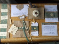 Burlap Country Invitations and such... by Bilancia Designs.