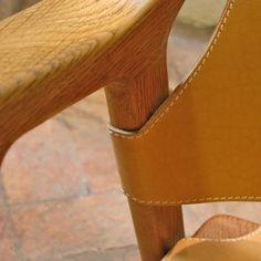 """Sedia """"Fox"""" da Rolf Hesland in cuoio naturale – dettaglio"""