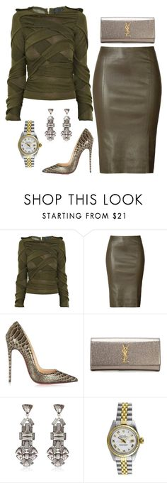 """""""Olives"""" by fashionkill21 ❤ liked on Polyvore featuring Burberry, Jitrois, Christian Louboutin, Yves Saint Laurent, River Island and Rolex dokuz limited offer,no taxes and free shipping.#shoes #womenstyle #heels #womenheels #womenshoes  #fashionheels #redheels #louboutin #louboutinheels #christanlouboutinshoes #louboutinworld"""