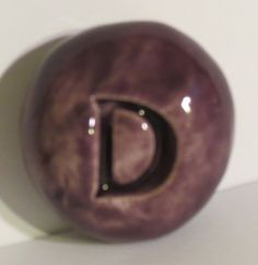 LETTER D Pocket Stone Ceramic PURPLE Art Glaze by InnerArtPeace