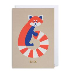 Number Six Racoon Card by Cozy Tomato is bursting with happiness, a bold use of colour and a charming innocence reminiscent of the 1950's.