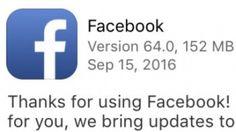Facebook 64: Die iOS-App wird über 150 MByte groß.acebook 64 steht nicht etwa für eine 64-Bit-Fähigkeit, sondern ist die Versionsnummer. Einen besonderen Grund für die enorme Größe des Updates gibt es anscheinend nicht. Das neue iOS 10 ist nicht der Auslöser, denn die Version 63 lag bei uns noch bei knapp 148 MByte. Die Versionsnummer 62 benötigte 142 MByte. Die Steigerungsrate ist einigermaßen konstant, aber hoch, seit wir im Dezember 2015 bemerkt haben, dass die iOS-Version mehr als 100…