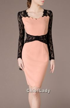 Spring Wedding Dress Elegant Black Lace Pink by Chieflady