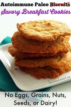 Autoimmune Paleo Savory Breakfast Cookies (aka flattened biscuits) - No eggs, grains, nuts, seeds, or dairy! ::: TheCuriousCoconut.com #paleo #breakfast