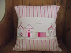 HANDMADE CUSHION COVER IN FRYETTS BEACH HUT STRIPE FABRIC GIRLS
