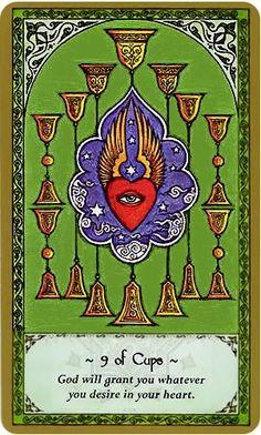 Rumi Tarot Card Art | Nine of Cups | 9 | minor arcana suit | Divination | Oracle Cards