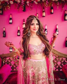 Love the backdrop photobooth , the earrings and all that pink ! Favourite photo today on the wmg app ! Just tell me those bottles of rose… Lehenga Hairstyles, Hairstyles For Gowns, Open Hairstyles, Indian Wedding Hairstyles, Indian Wedding Outfits, Bridal Outfits, Bride Hairstyles, Indian Hairstyles For Saree, Party Hairstyles