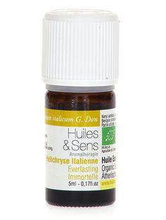 huile essentielle hélichryse (bio) de chez Huiles & Sens Aromatherapie (http://www.huiles-et-sens.com/huile-essentielle-helichryse-bio/)