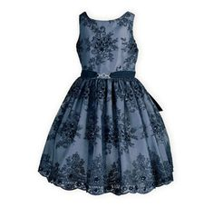 She will sparkle like that first star at twilight in this soft poly sateen slate blue waisted dress. Tulle overlay with elegant navy embroidered desig Little Girl Outfits, Toddler Outfits, Boy Outfits, Girls Special Occasion Dresses, Dresses For Tweens, Summer Dresses, Formal Dresses, Party Clothes, Girl Clothing