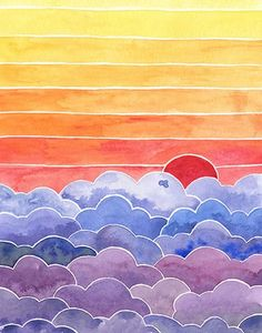 Colorful and uplifting watercolor landscape painting, ready to brighten your heart and home. Visit the shop for this and more original watercolors and prints. Watercolor Landscape Paintings, Watercolor Walls, Simple Watercolor, Watercolor Ideas, Tattoo Watercolor, Watercolor Animals, Watercolor Techniques, Watercolor Background, Abstract Watercolor
