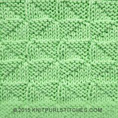 Very easy to knit mirrored stockinette triangles. This is a reversible stitch that looks as good on the wrong side as it does on the right side.