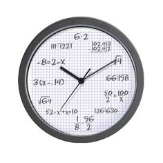 Graph Paper Math Clock Wall Clock - Office Gift Ideas (CafePress.com)