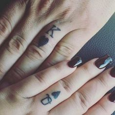 Couple Small King and Queen Finger Tattoos