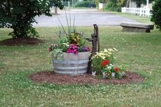 Barrel planter and old pump go together.