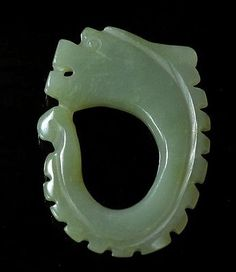 Rare hand-carved Chinese Hetian ancient Jade (Dragon Qing Dyn)