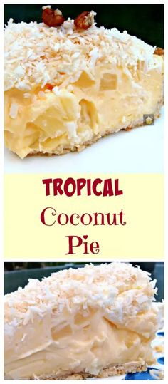 TROPICAL COCONUT PIE! It is so creamy and has a rich coconut flavor, laced throughout with juicy pineapple chunks and a crispy sweet pie crust. Heavenly!   Lovefoodies.com