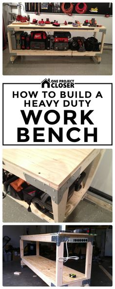 How to Build a Heavy Duty Workbench - One Project Closer Workbench Plans Diy, Woodworking Workbench, Woodworking Shop, Woodworking Crafts, Garage Workbench, Workbench Designs, Folding Workbench, Woodworking Furniture, Workshop Organization