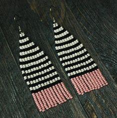 Striped white black pink earrings Long seed bead earrings