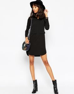 Image 4 ofASOS TALL Shirt Dress In Mixed Fabric