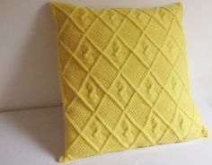 Custom gold hand knit pillow cover, decorative chartreuse couch pillow, knitted pillow case, knit throw pillow, cable knit pillow sham