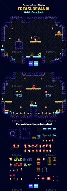 "Buy Game Mockup: Cave Pack by noekintaro on GraphicRiver. Treasurevania – Complete game creation kit, from ""Awesome Game Mockup"" collection. This asset suit for game developer. Game Design, Game Level Design, How To Pixel Art, Game Development Company, Android Tutorials, 2d Game Art, Videogames, Pixel Art Games, Games"